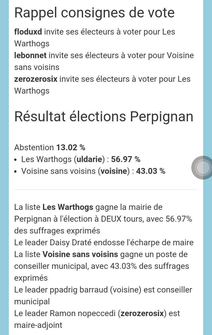 Les résultats du second tour